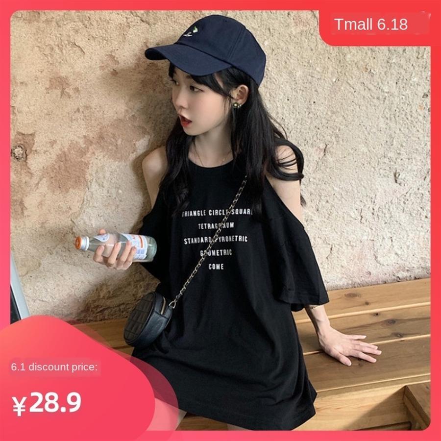 Плечо подвергается коварному коротким рукавам футболки женских хлопок летних одежд потерять Ins стиля универсальной сексуального Банди одежду моды