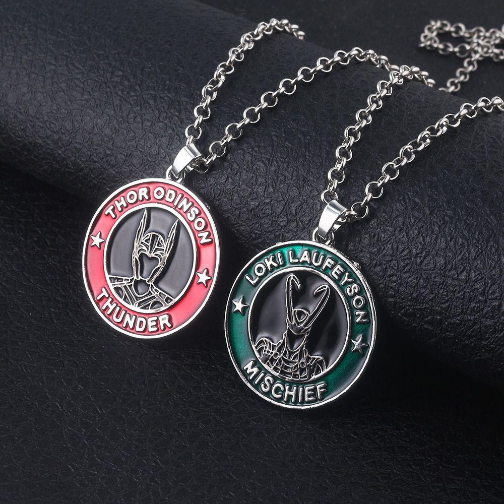 The Avengers Thor Loki Logo Collar Odinson Laufeyson Gargantilla Mjolnir Hammer Stormbreaker Hacha Collar Niñas Hombres Joyería Regalo