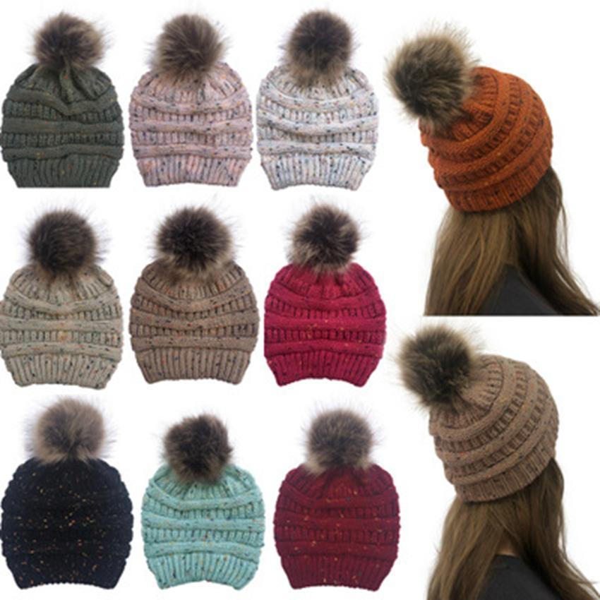 Hiver Femmes Confetti Tricoté Chapeau Chaud Pom Pom Coloré Laine Chapeau Dames Crâne Bonnet Solide Femelle En Plein Air Caps 10 Couleurs ZZA982