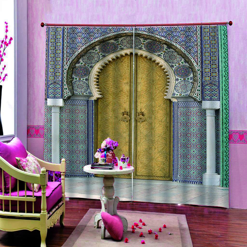 sollievo arco Europa Tende di 3D Printing Curtain Blockout poliestere Photo tende tessuto per camera da letto Finestra