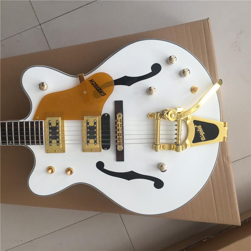 Os fabricantes feitos sob medida guitarra jazz semi-oca quente, hardware ouro, corpo branco, fornecer a personalização