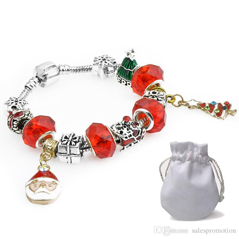 Nuovi Prodotti a0d62 68c99 2019 New Xmas Tree Pendants Charm Bracelets Fit Pandora Boy Girls Red  Crystal Glass Beads Silver Plated Jewelry Christmas Gift Kids Silver Hoop  ...