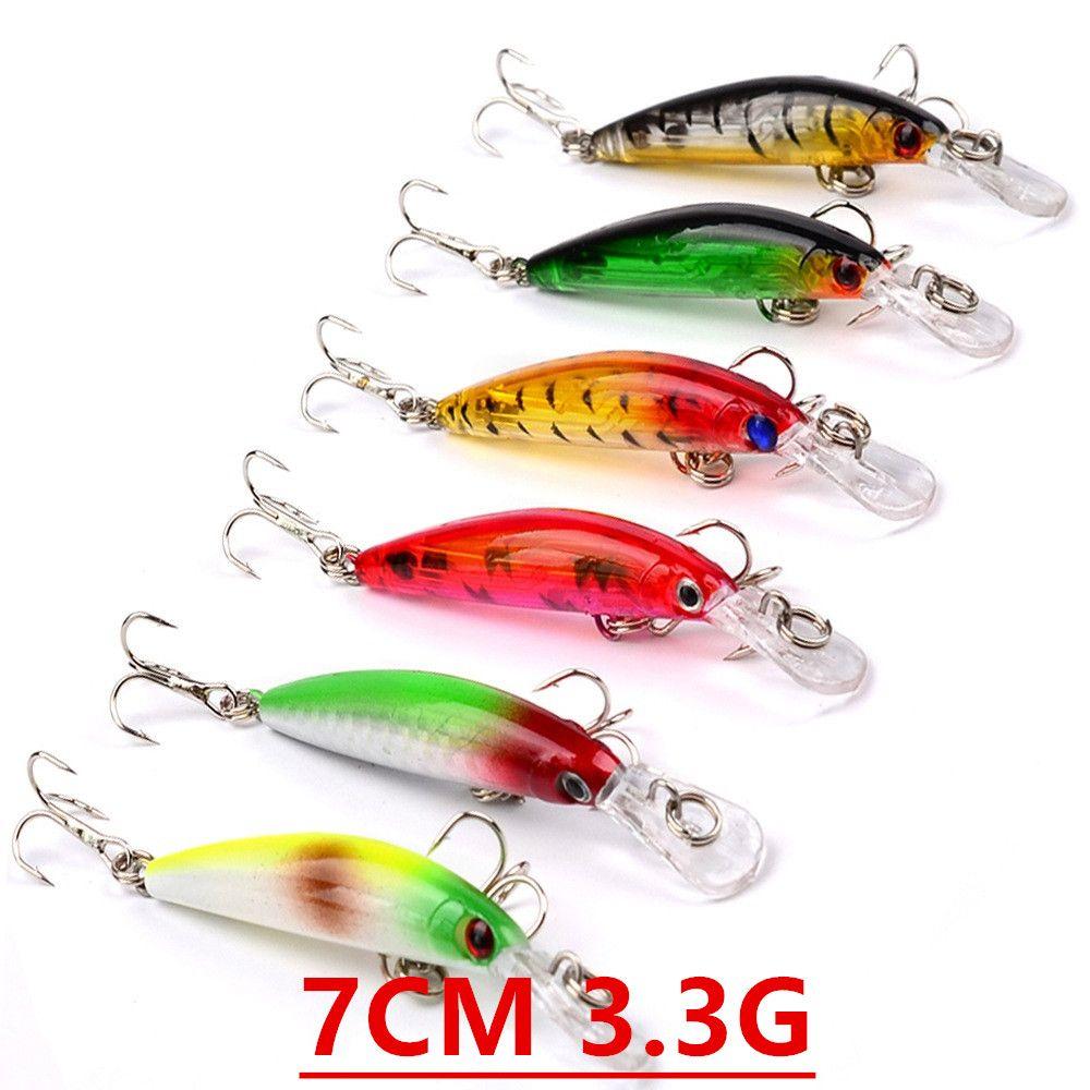 1pcs 6 Colore 7 centimetri 3.3g Minnow Pesca Ganci ami 8 # gancio in plastica dura esche Esche Pesca Pesca Tackle Accessori V-62