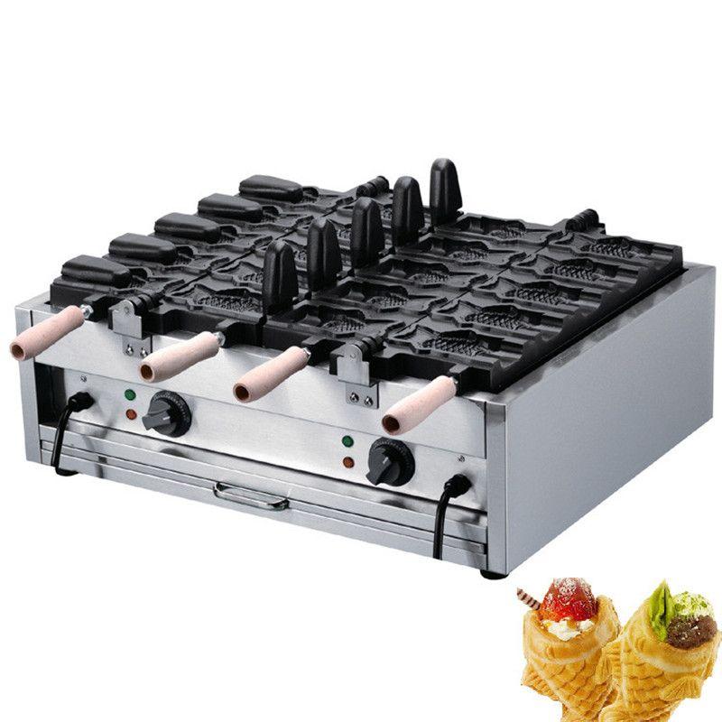 BEIJAMEI Máquina de taiyaki de suministro de fábrica para llenar helados / máquina de hacer conos de waffle en forma de pescado / Máquina de taiyaki eléctrica
