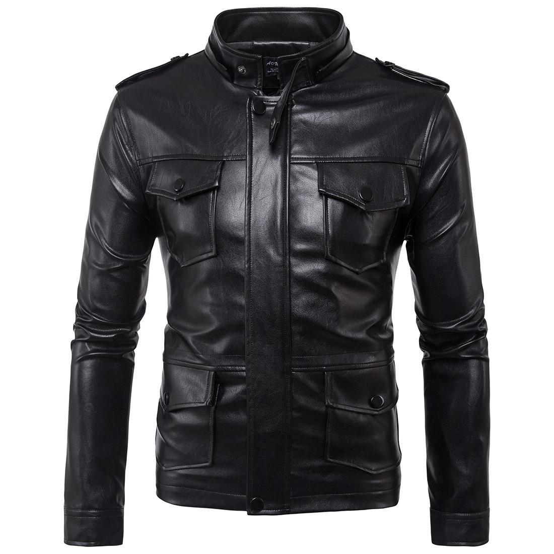 Ума 2019 Новый стиль Европа и Америка Мужчины Локомотив с капюшоном Мужские кожаные куртки кожаные пальто Ума Coat Товары Foot B005