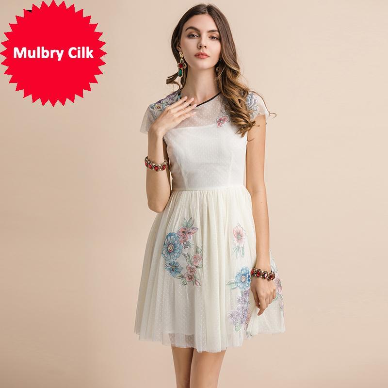 2019 мода взлетно-посадочная полоса лето повседневное платье женщины с коротким рукавом цветочный принт наложение сетки современный A-line тонкий платья