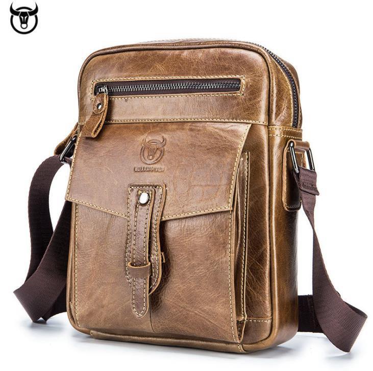 Color : Black, Size : S New Leather Mens Bag Vintage Head Layer Cowhide Mens Shoulder Bag European and American Fashion Cross-Body Bag