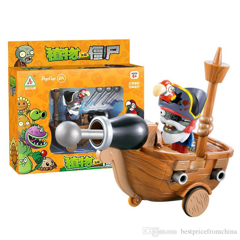 Plants Vs Zombies Action Figure ABS Shooting Toy Model Pirate Ship