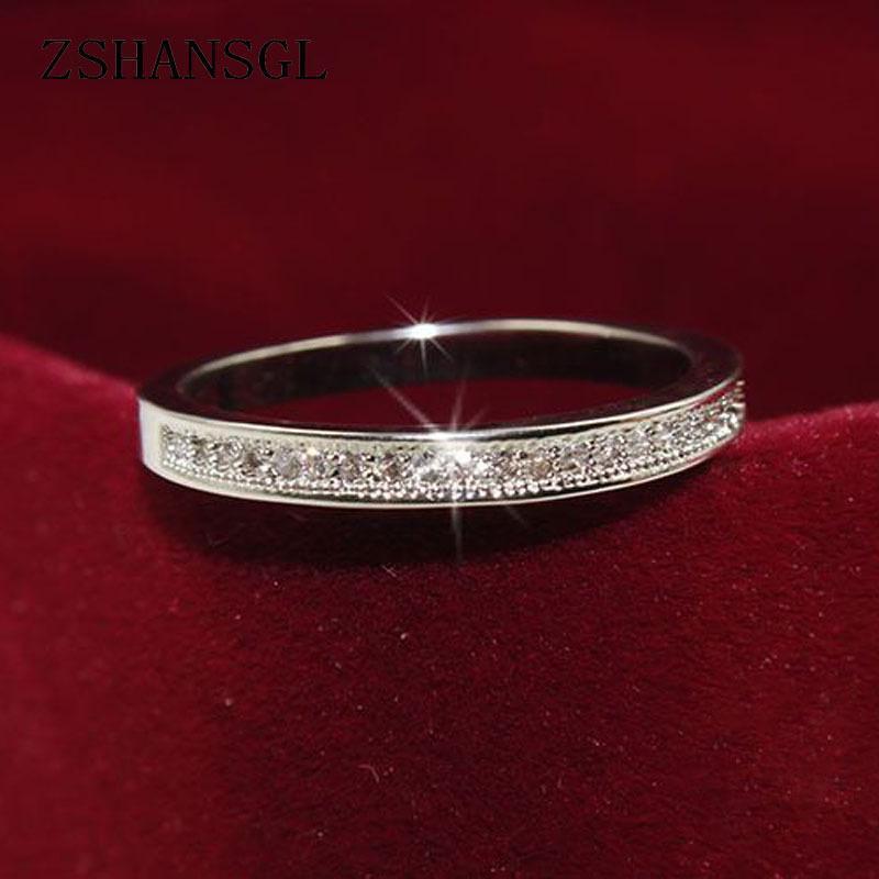 여성 결혼 보석 선물 클래식 925 스털링 실버 반지 높은 품질 원 명확한 기하학적 스택 반지