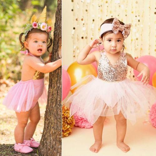 Abito bambino neonate vestiti principessa partito del merletto Paillettes pagliaccetto giallo Gonna Tutu Fiore