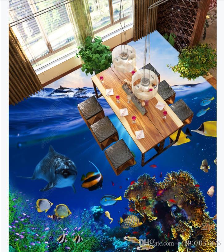 Personalizado 3D Autoadhesivo piso foto mural wallpaper Hermoso Ocean World Dolphin Baño Sala de estar 3D Pintura de piso impermeable