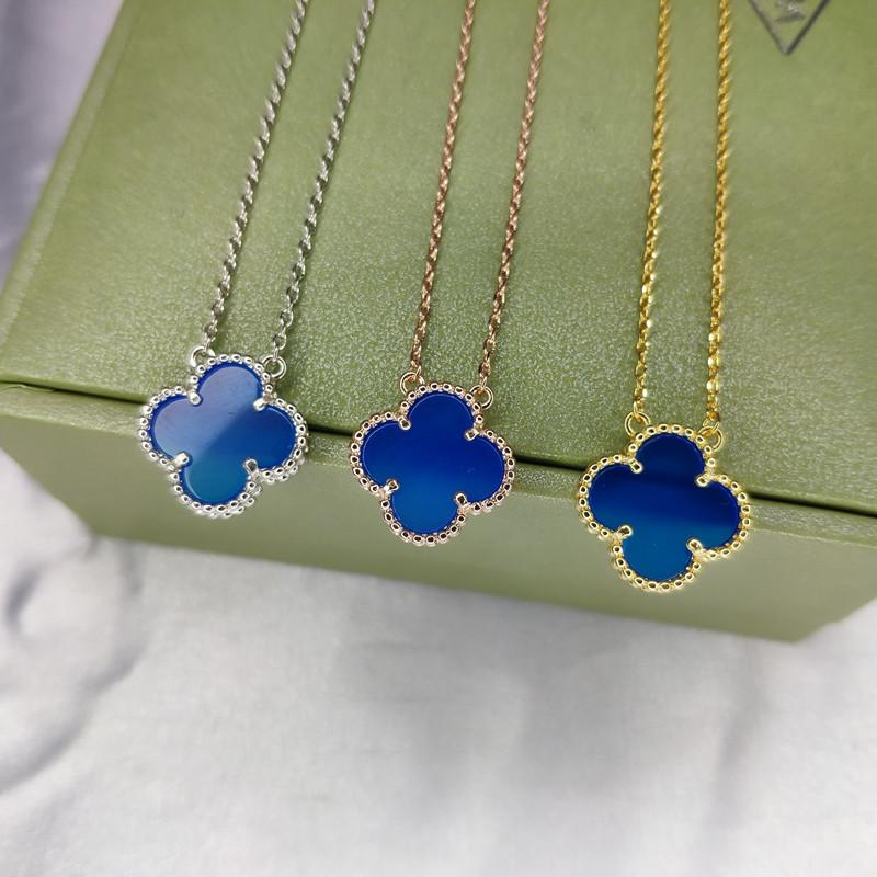 Blue Zircon Flower Shape Gold Color Silver Pendant Necklace Fashion Simple Generous Personality Creative Wild Clavicle Chain Sweater Chain