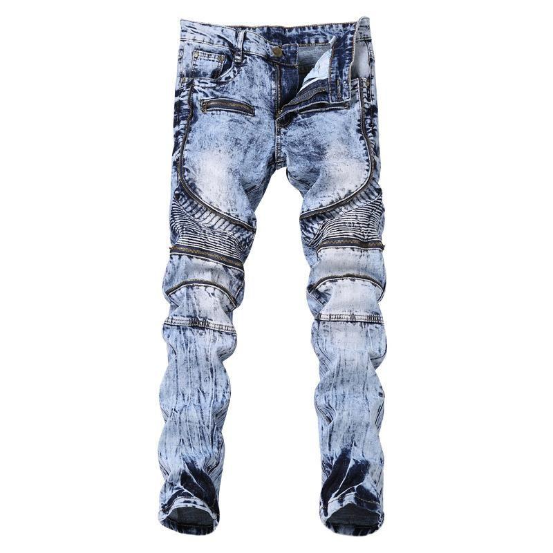 Pantalones motocicleta de la manera del estilo de la calle principal de los hombres de plisado delgado elástico del estiramiento del pie Multi Zip jeans para hombres