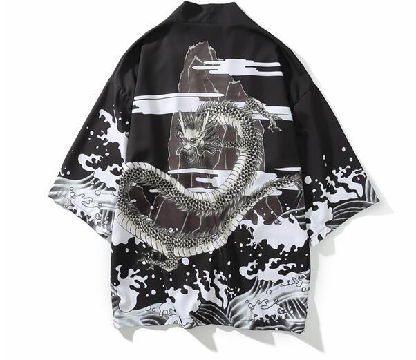 Fashion-Mens Kimono Japanische Kleidung Streetwear Casual Kimonos Sommer Herbst Jacken Harajuku Japan Style Cardigan Outwear für Männer Drop Ship