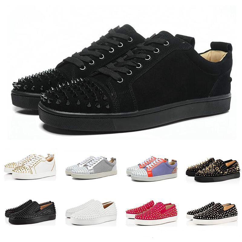 Sapatos Designer de moda de luxo Red Bottoms Studded Spikes Flats para mulheres dos homens amantes do partido preto de couro genuíno Sneakers Casual
