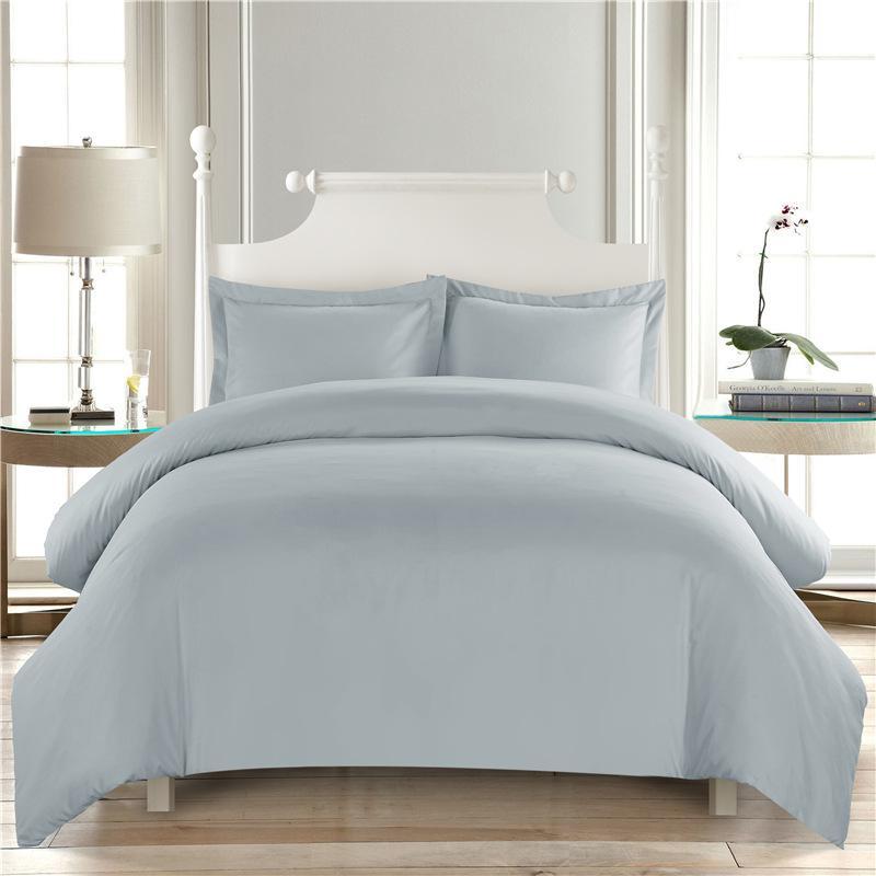 couleur pure couette blanche Literie Hôtel housse de couette King Size maison Couvre-lit Taie d'oreiller décoration Chambre Double28
