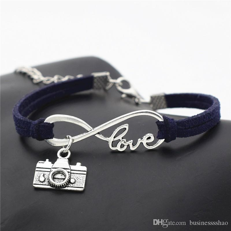 Infinity Love Camera Photograph Lover Accessoires Dark Navy Leather suede charm bracelets & bangles fashion female male vintage jewelry gift