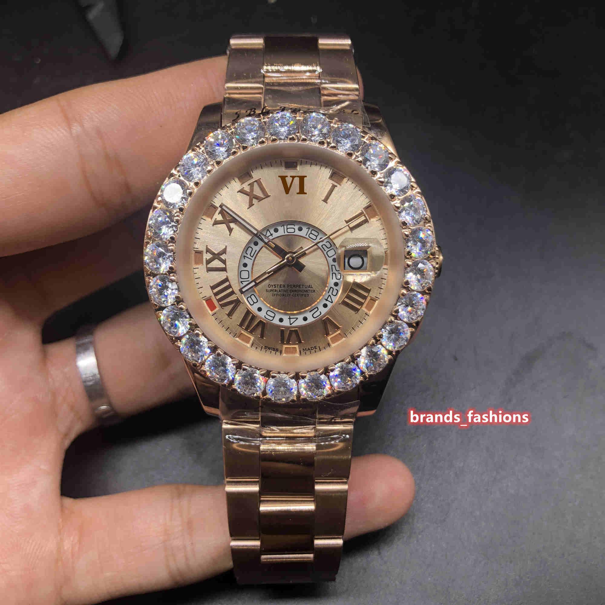 بوتيك رجال الأعمال الأزياء الساعات روز الذهب الفولاذ المقاوم للصدأ ووتش الشق مجموعة الماس ووتش التلقائية الميكانيكية ساعة اليد الرياضة