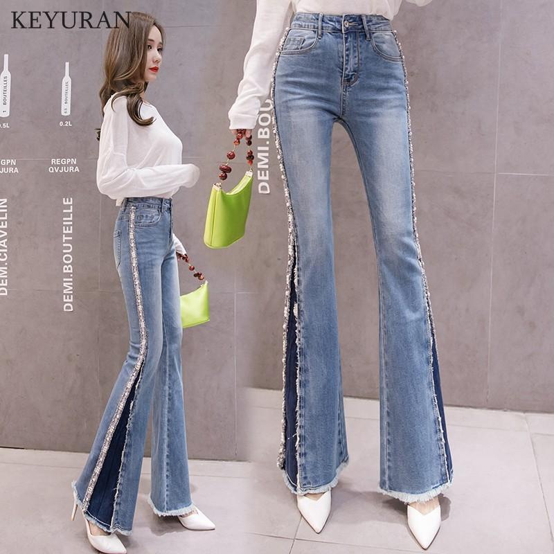 Мама голубой высокой талии клеш джинсы Boyfriend Bottom джинсовые Skinny Женщина джинсы Женщина Бисероплетение Wide Leg Vintage Plus Размер 2XL