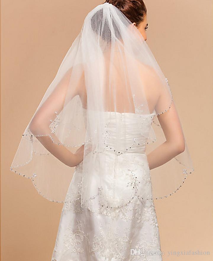 Nouveau Meilleures ventes image réelle une couche de perles bord poignet Longueur alliage Peigne Blanc Ivoire Rouge mariage Voile Meidingqianna Marque