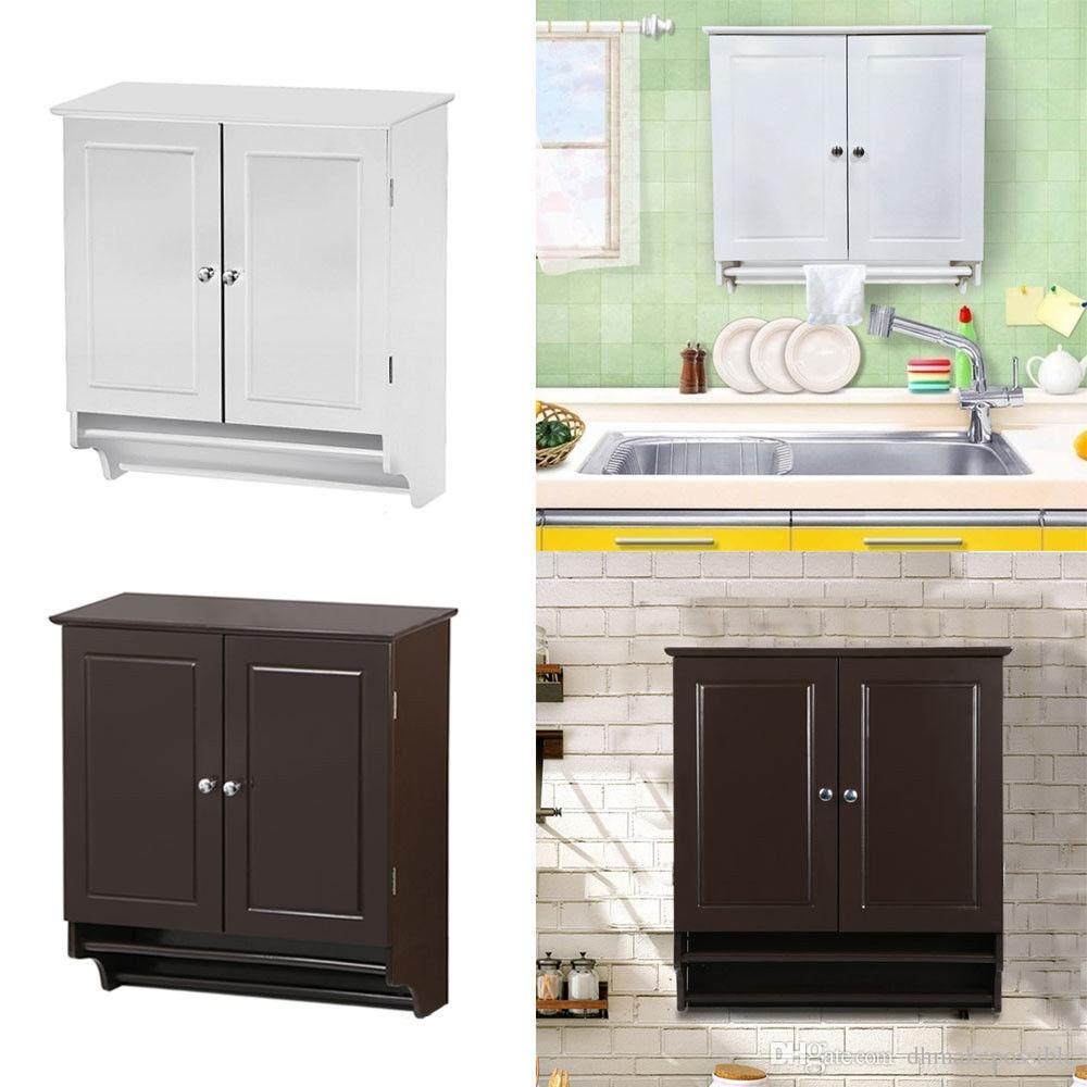 2019 Bathroom Cabinet Storage Wall Mount Kitchen Cupboard Shelves With  Towel Rack White / Espresso From Dhmakepossible, $40.49   DHgate.Com