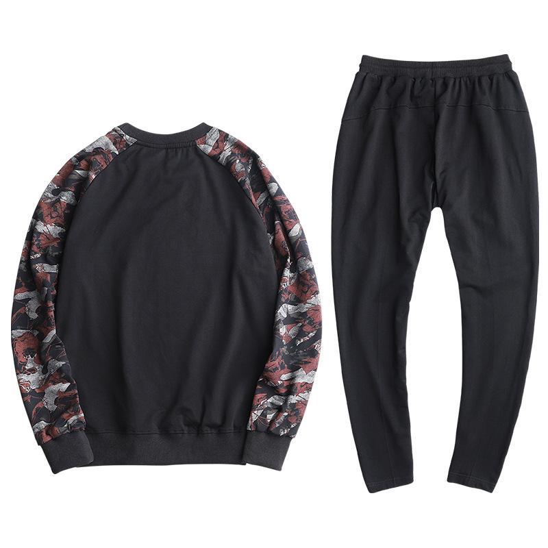 9XL Mann-Sport-Klage-Frühlings-Herbst-beiläufige Jogger Outfit Set Brief gedruckt lose Male Sportanzug Sweatshirt + kurze Hose