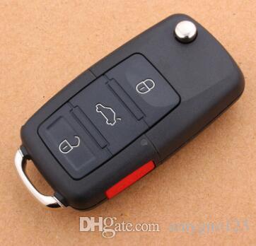 Высокое качество авто ключ для vw remote shell (3+1) кнопка ключа автомобиля shell с красной тревожной кнопкой бесплатная доставка