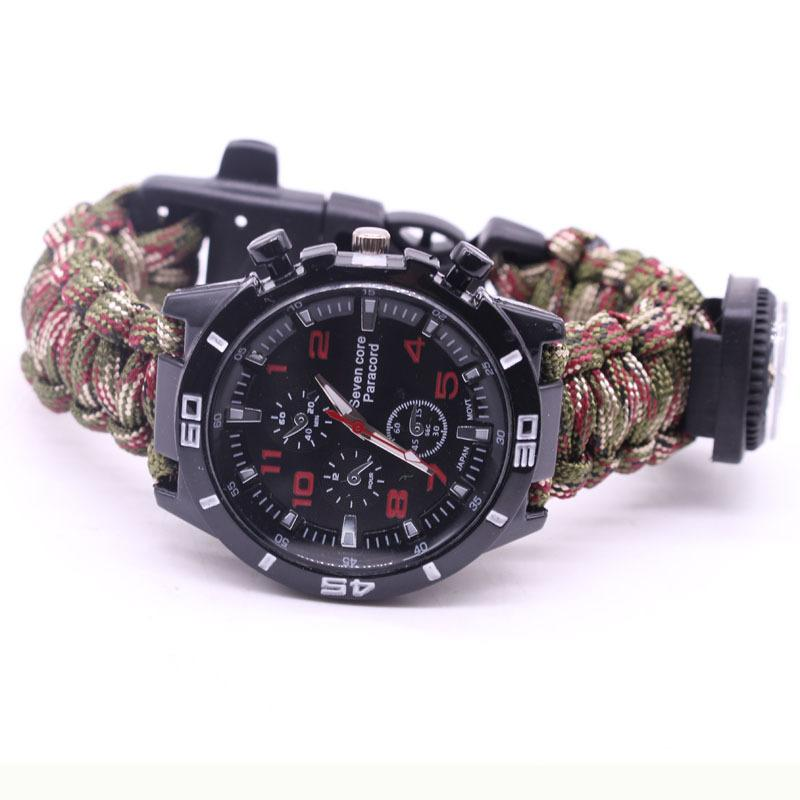 EDC Multi Tools Tactical Camouflage Outdoor survival watch bracelet compass Rescue Rope paracord Camping equipment (5)