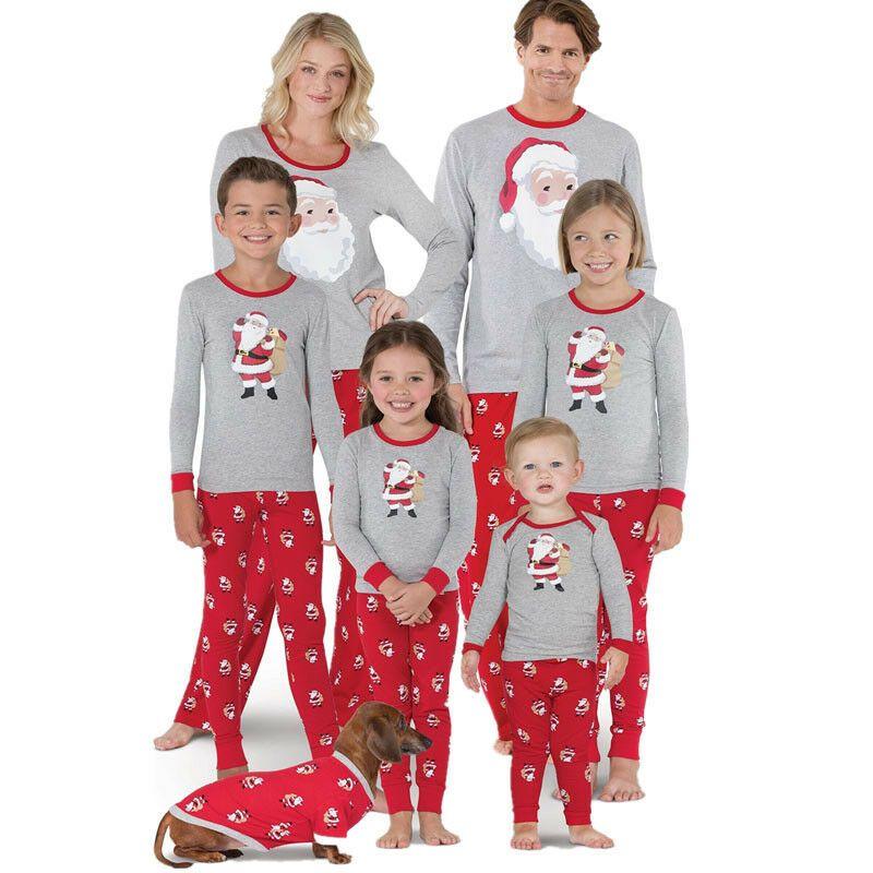 Família de Natal Matching Pijamas Set Mulheres Crianças Pijamas Roupa de Noite Homewear