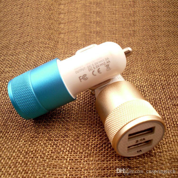 Adaptador de viagem de metal carregador de carro universal 2 portas colorido micro usb plugue do carro adaptador usb para samsung s9 plus iphone xs max pacote opp