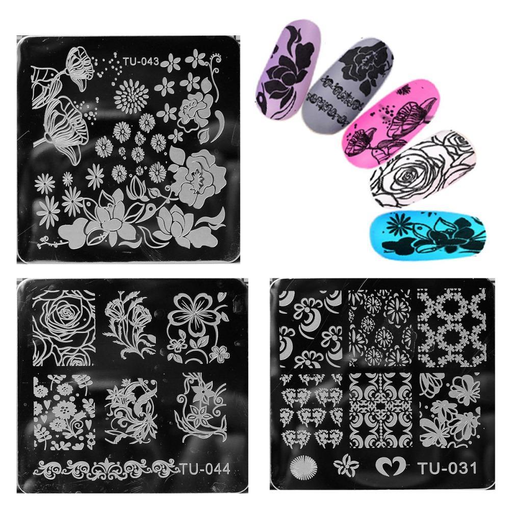 10 Pçs / lote Subiu Projeto Prego Carimbar Placas Selo Nail Art Template Manicure Ferramentas Adorável Estilo Do Floco De Neve Decration M14