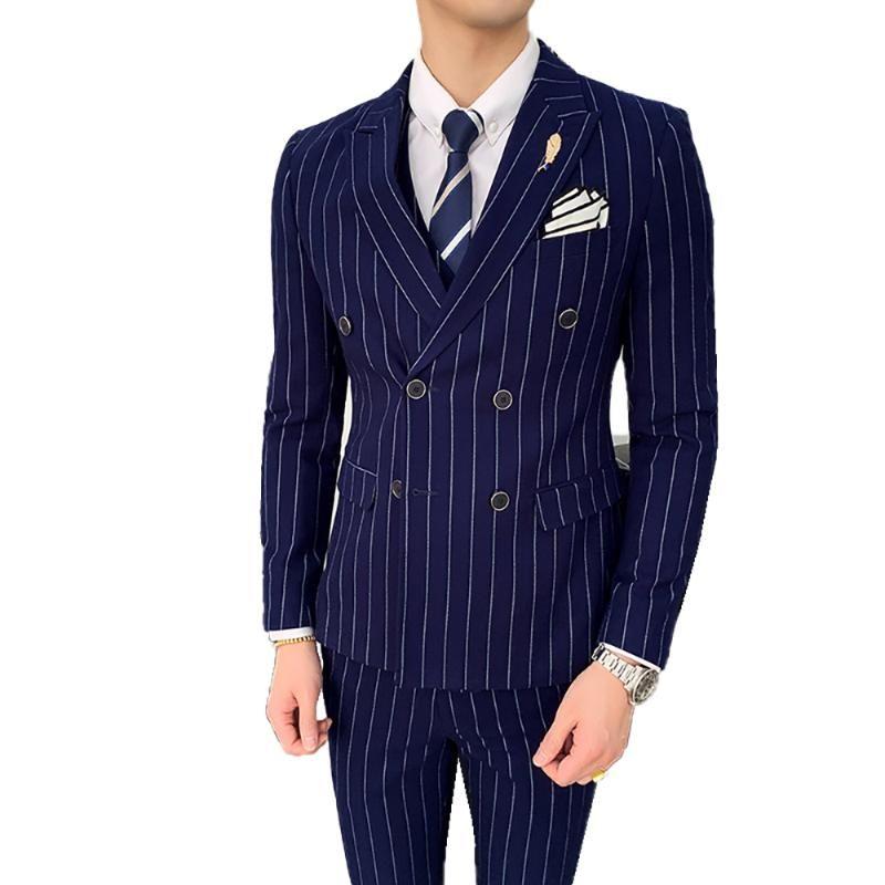 (куртка + жилет + брюки) Лидирующий Марка Формальное полосатой мужской деловой костюм 3-х частей Установить жениха Свадебное платье Двойной Брестед костюм