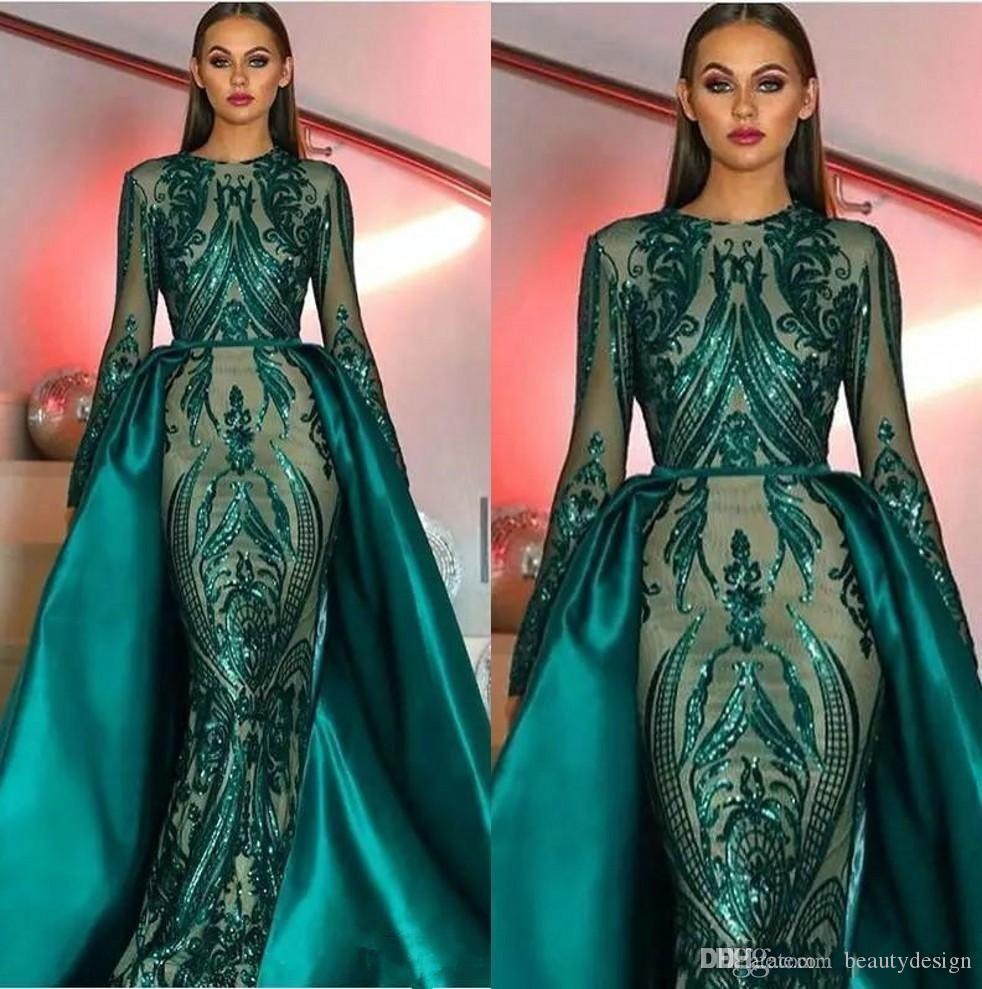 2020 Dubai Emerald Green mit langen Ärmeln Nixe-Abend-Kleid mit abnehmbarem Zug Abaya Kaftan muslimischen Abendkleid robe de Soiree BC2230