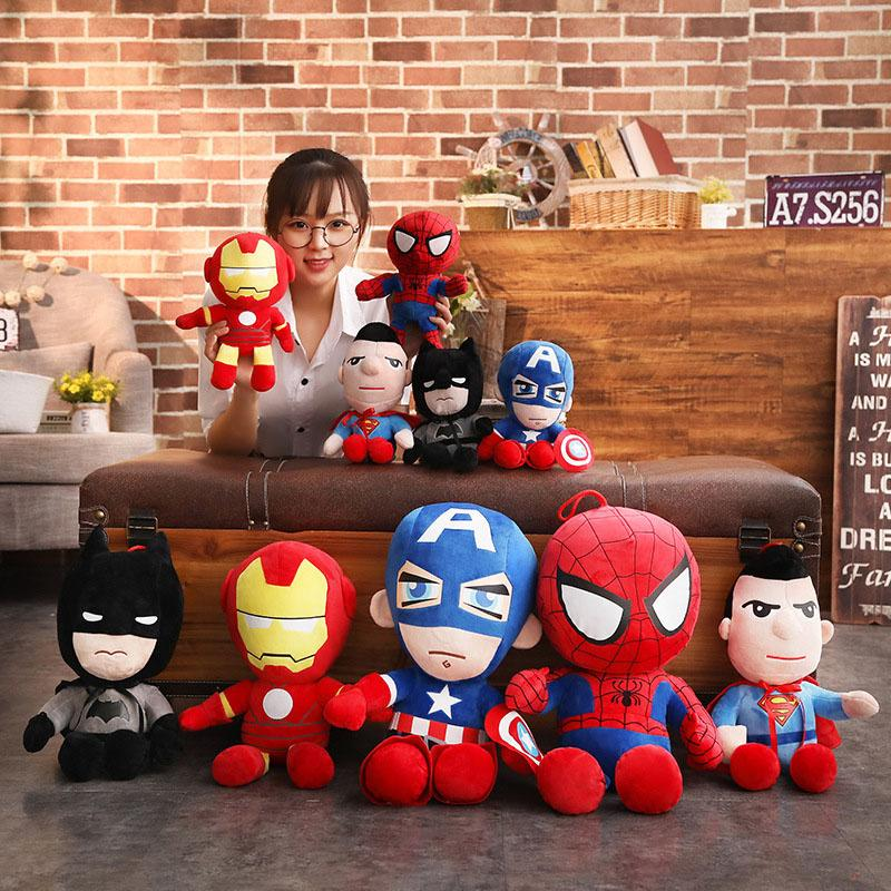 1Pcs 30cm Soft Stuffed Super Hero Captain America Iron Man Spiderman Plush Toys The Avengers Movie Dolls for Kids Cartoon pillow
