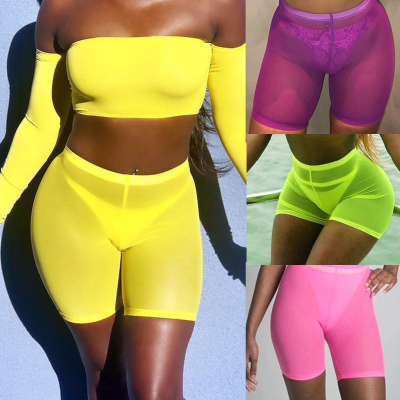Vita alta donne tira Pantaloncini costumi da bagno 2020 Beach Mesh Cover Up Solid Viola donne Costumi da bagno Nuoto Costume da bagno