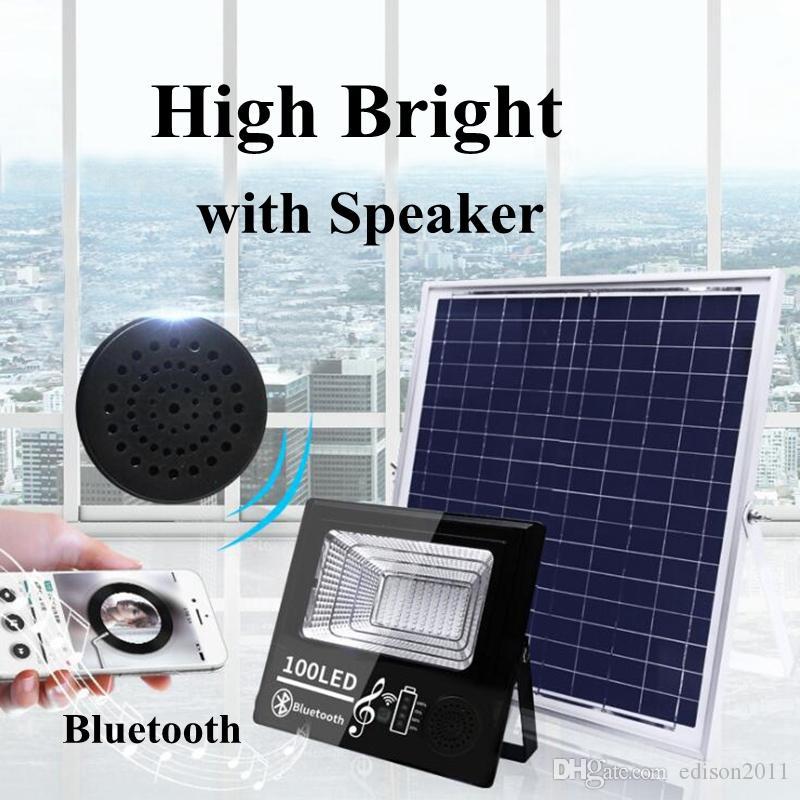 Edison2011 2019 Smart Solar Lamp Light Bluetooth Music Street Light IP67 Outdoor Solar Spotlight Floodlight Light Control & Remote Control