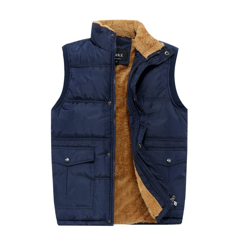 남성 플러스 사이즈 XL-7XL 겨울 남성 양털 조끼 겉옷 경량 패딩 따뜻한 조끼 양복 조끼 민소매 재킷