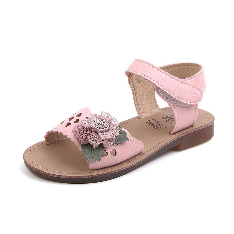 Girls Flower Beach Sandals Summer New Kids Flat Shoes For Baby Girl Fashion Cut-outs Princess Sandals Size 21-30