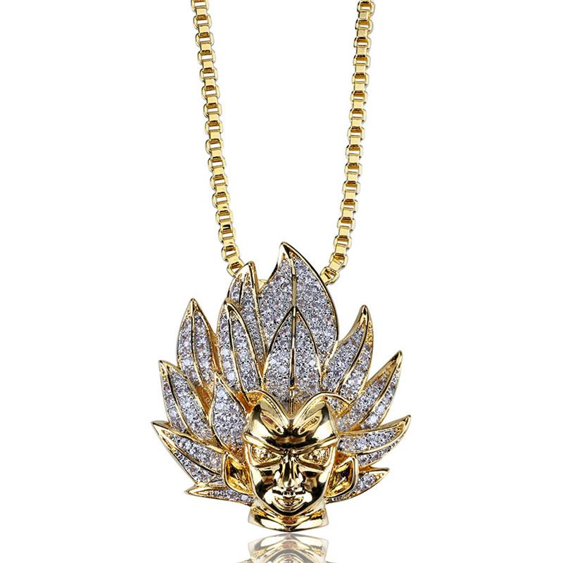 Super Saiyan Goku Pendant Necklace Anime DBZ Hip Hop Full Rhinestone Bling Bling Iced Out Jewelry For Men party Gift DropShipping