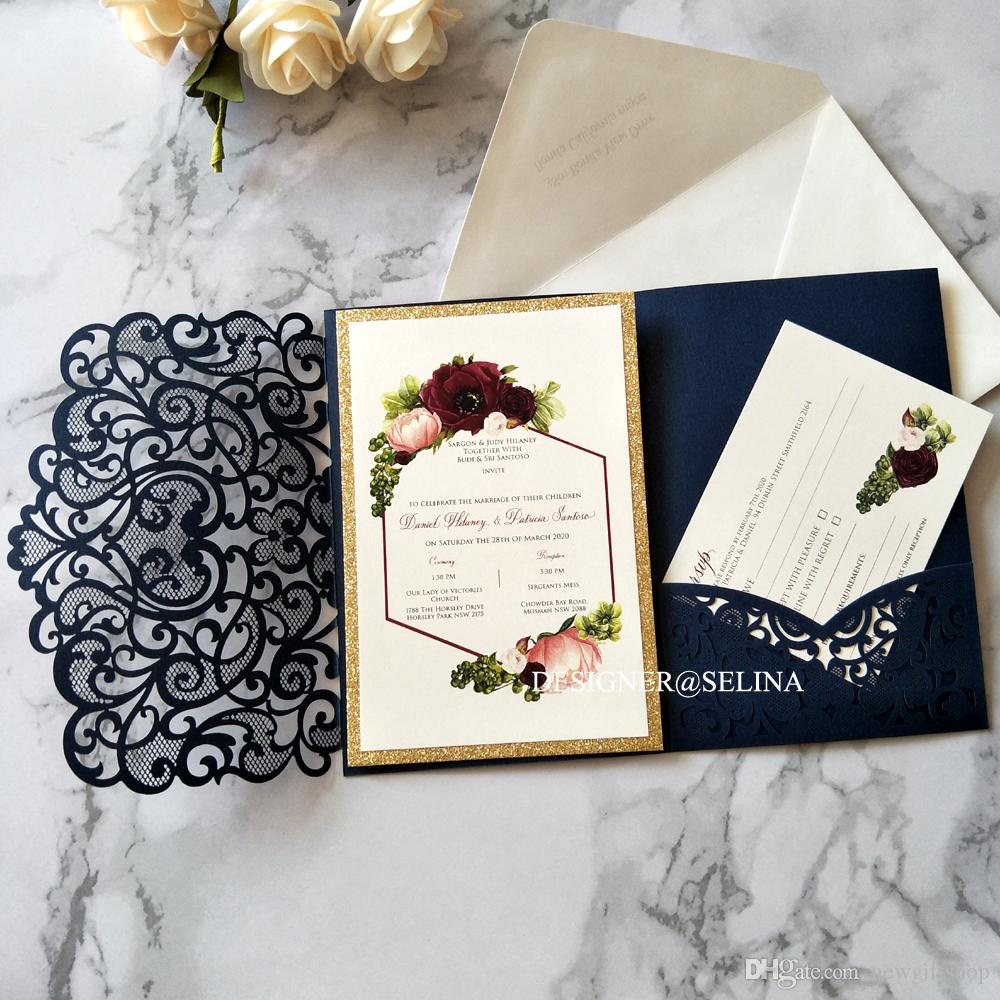 Navy Blue Floral Printing Laser Cut Wedding Invites with Gold Glitter Bottom and RSVP Card DIY Pocket Invitations for Engagement