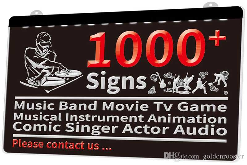 1000+ Signs Music Band Movie Tv Game Musical Instrument Animation Comic Singer Actor Audio New 3D LED Light Sign Multiple Color