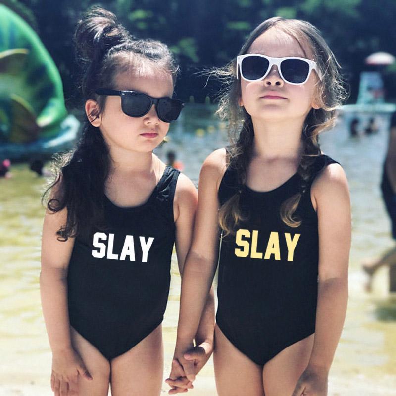 Öldürmek Harf Baskı Mayo One Piece Mayo Çocuk Mayo Kızlar Swim Suit Çocuk Beachwear siyah, kırmızı, pembe badpak yüzme