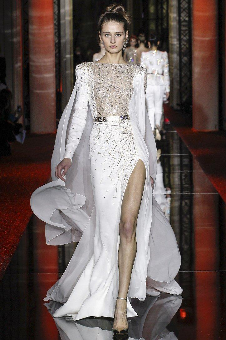 Evening dress Yousef aljasmi Labourjoisie Zuhair murad James_paul 1Mermaid Jewel Long Sleeve White Chiffon Split Front/Side Long Dress