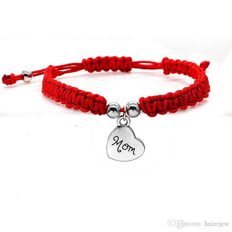 Tema bastante pulsera suerte Te amo mamá roja hermosa joyería pulseras para el día de madre de la mamá Familia regalo Bless encanto pulseras elegantes
