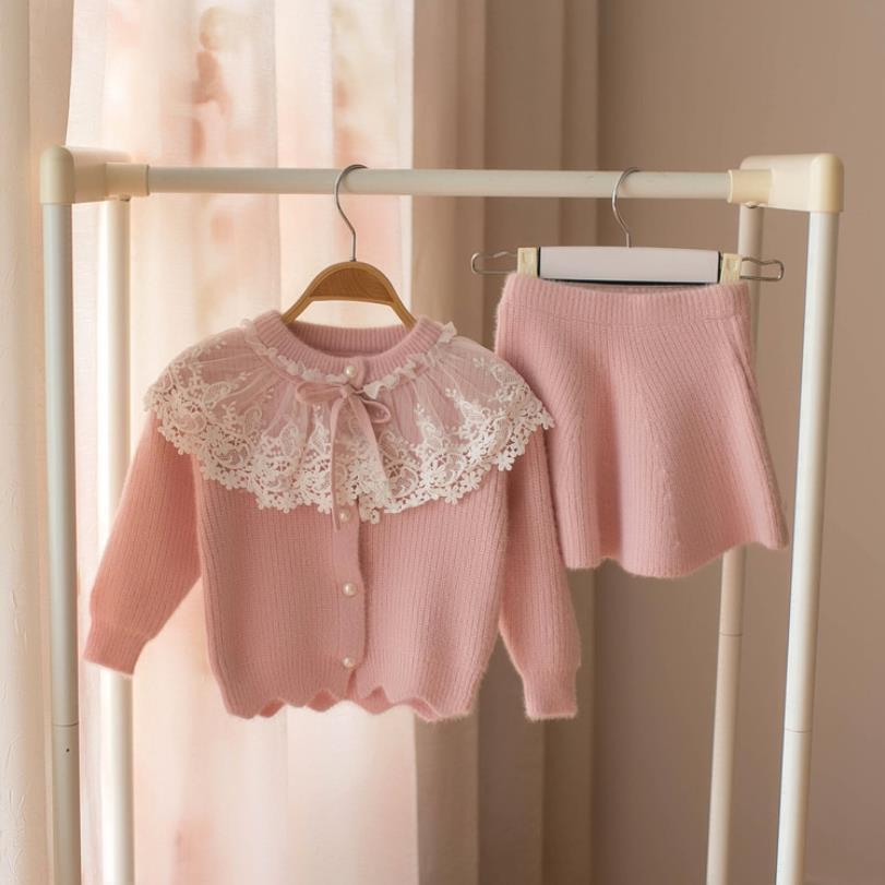 Kız Giyim Seti Çocuk triko Triko Giyim Kız Bebek Örgü Kıyafetler Suit 2019 Moda örme giyim 5 yaş için
