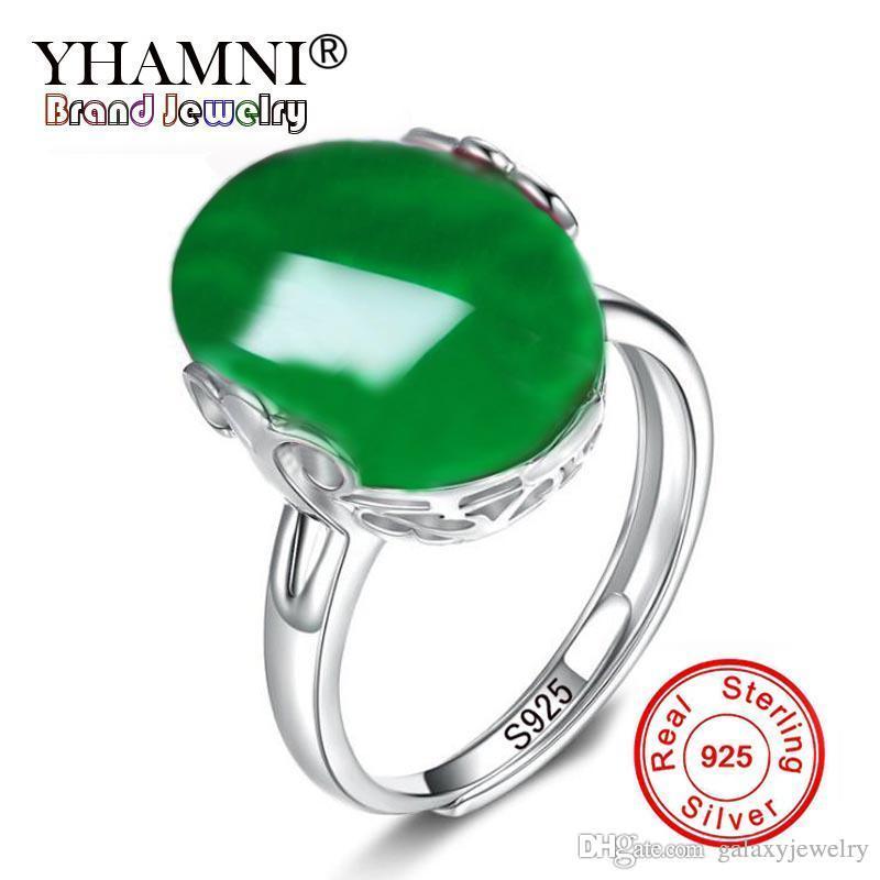 YHAMNI New Hot Natural Green Gem Stone Open Ring Original 100% 925 Silver Adjust Ring Fashion Jewelry Gift GJ-021