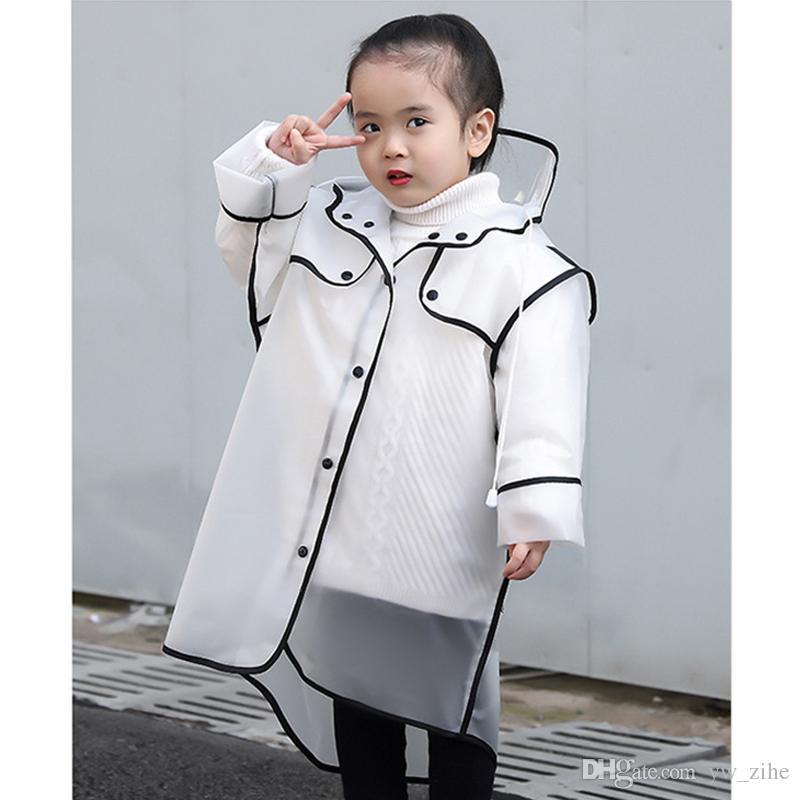 الأطفال المعطف فتاة المعطف الطفل المعطف ماء المطر المعطف المطر والعتاد إيفا مقنعين شفافة الطفل الأولاد ملابس ضد المطر wh0788
