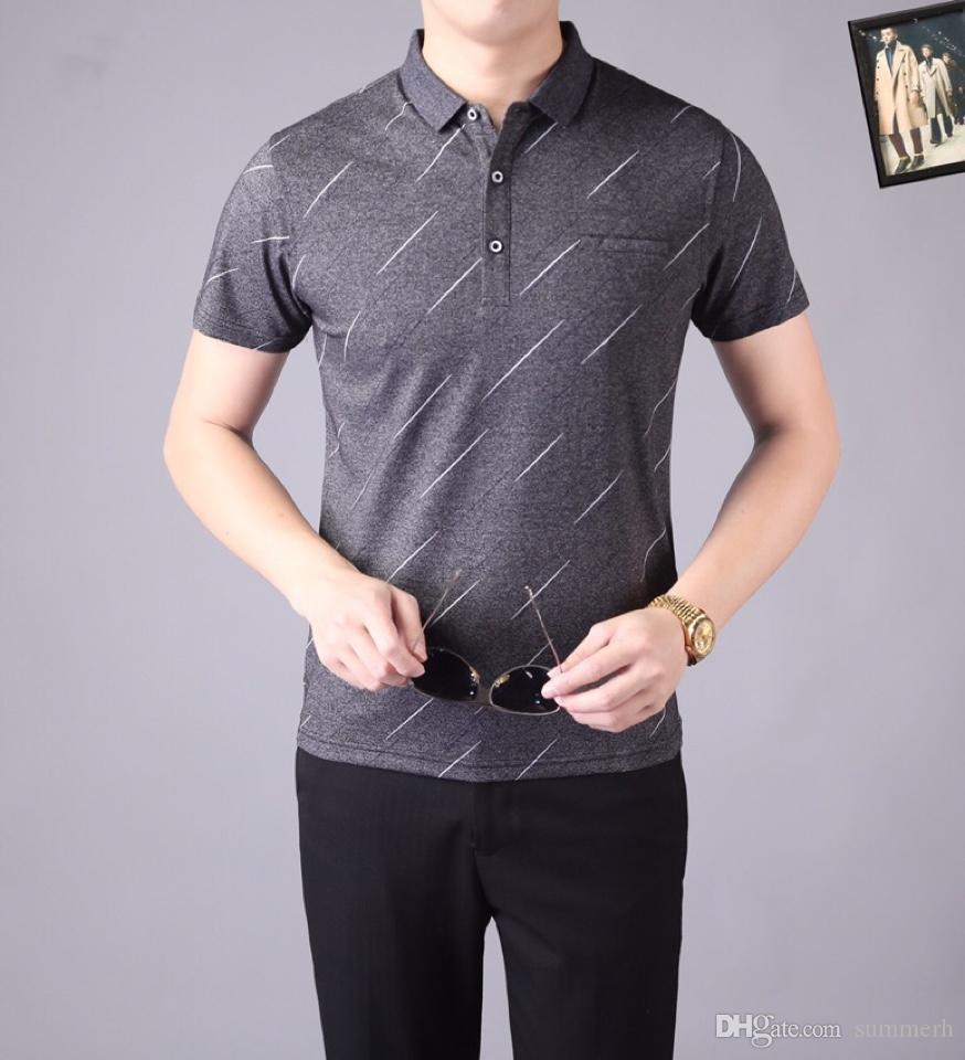 2018 Polo Festen Poloshirt Männer Luxus-Polo-Shirts Kurzarm Basic-Top Cotton Polos für Junge Marken-Designer-Polo Homme