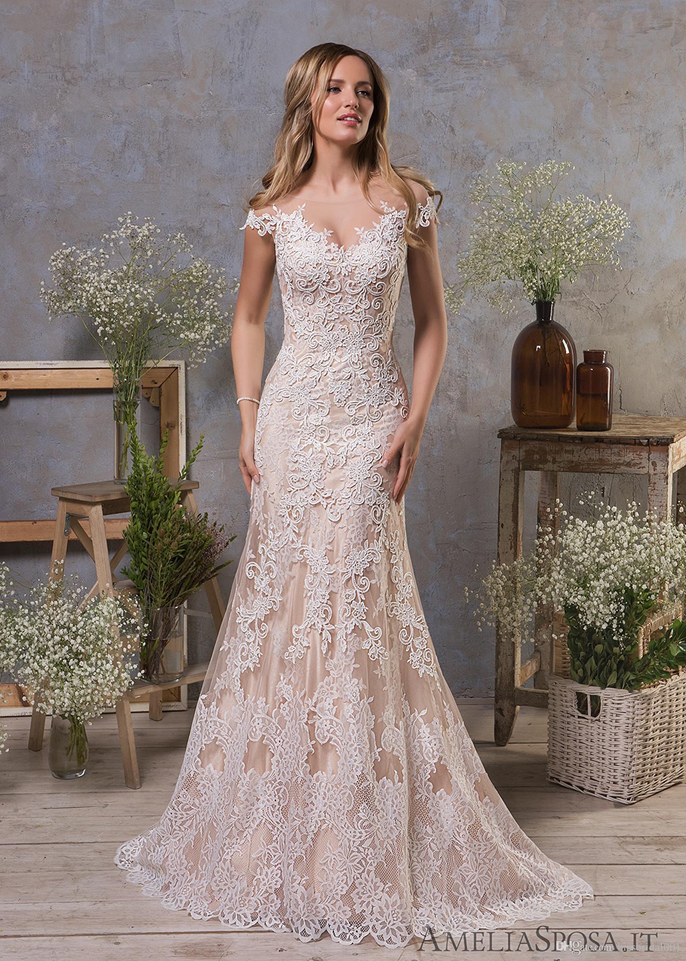 vintage lace wedding dresses 2019 sexy mermaid scalloped short sleeve  bridal gowns sheer illusion bride formal dress gown vestidos de novia  halter