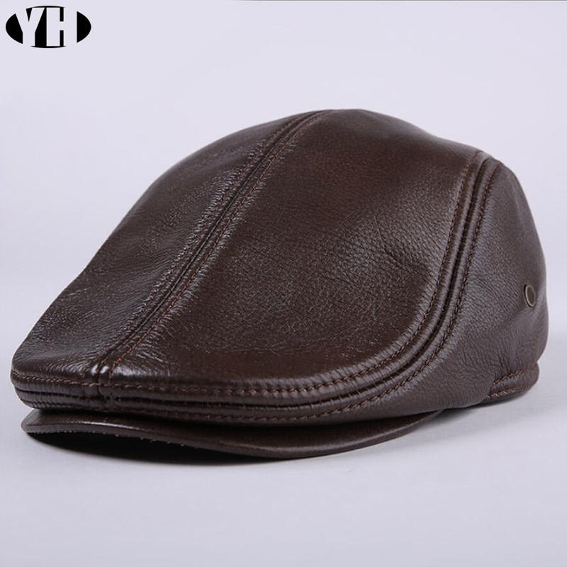 Genuino reale Cappello di cuoio di baseball del progettista dei nuovi uomini di tappo strillone Beret cappello di inverno caldo ricopre i cappelli pelle bovina Cap
